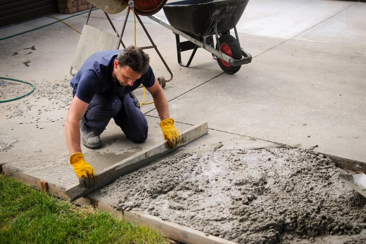 Contractor making driveways